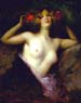 Albert-Joseph Pénot (French, 1870-?), Nude with red flowers in hair