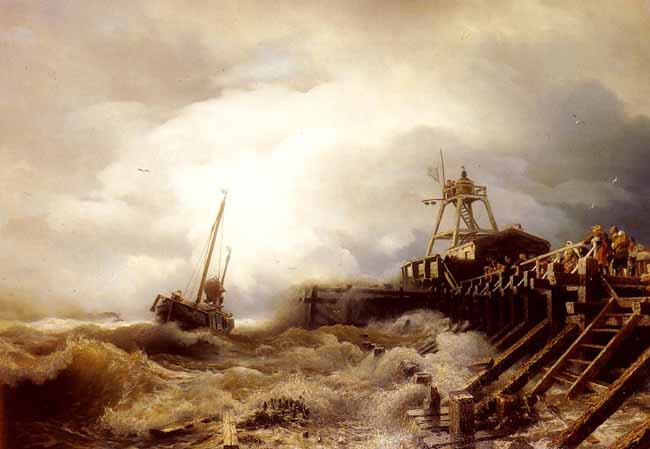 Andreas Achenbach, Boat caught in  a squall off a jetty