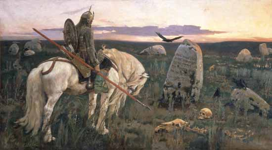 Victor Mikhailovich Vasnetsov, Rússia, 1848-1926, The knight at the crossroads